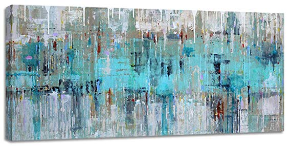 Large Wall Art for Living Room Gray Green Abstract Painting Picture Print on Canvas