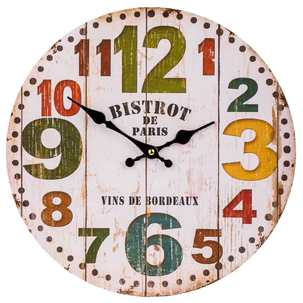 Colorful Retro Arabic Numerals Style, Silent Non -Ticking Quartz Wooden Wall Clock