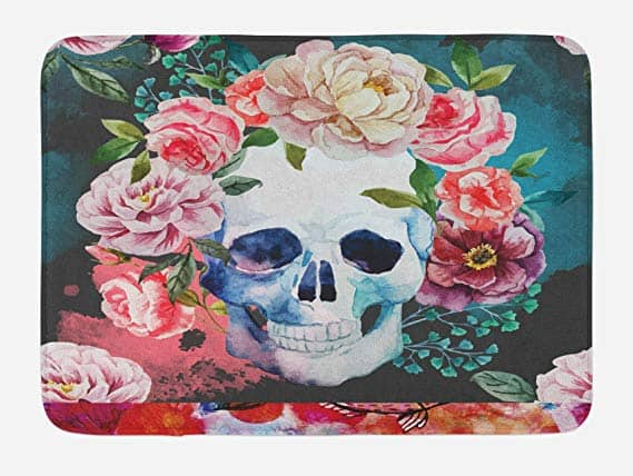 Lunarable Skull Bath Mat, Big Flowers and Skull Floral Design